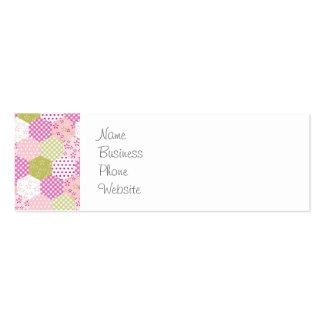 Diseño bonito del edredón de remiendo del verde tarjetas de visita mini