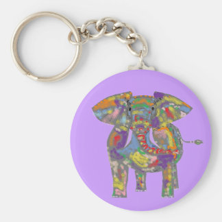Diseño bonito del elefante del arco iris llavero redondo tipo pin