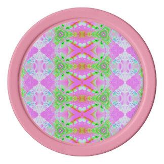Diseño bonito del modelo del extracto del rosa en fichas de póquer