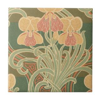 diseño bonito del nouveau del arte de las flores d azulejo cuadrado pequeño