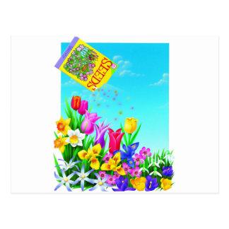 Diseño bonito el cultivar un huerto de flores postales