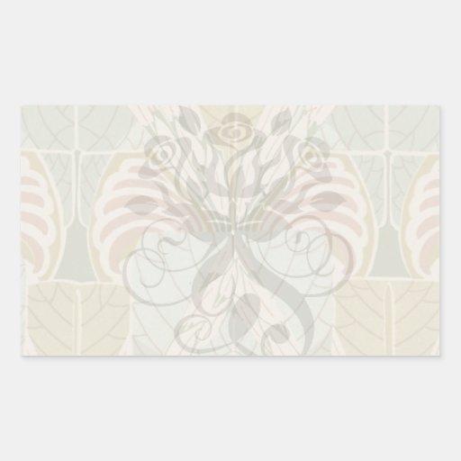 diseño botánico abstracto del nouveau del arte pegatina rectangular