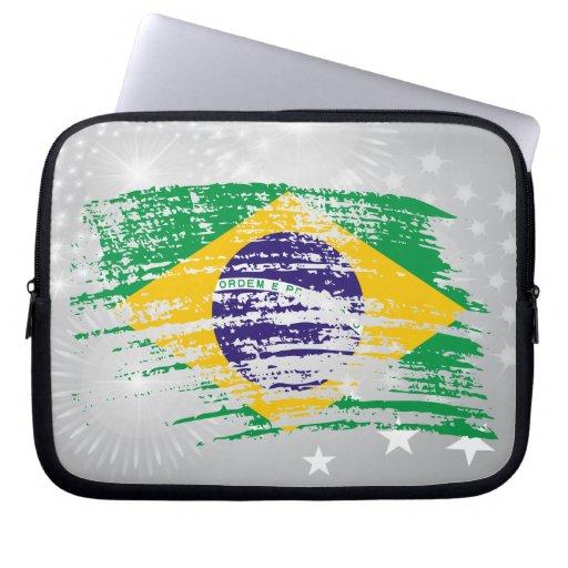 Diseño brasileño fresco de la bandera mangas portátiles