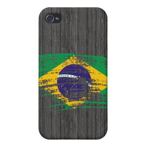 Diseño brasileño fresco de la bandera iPhone 4 carcasas