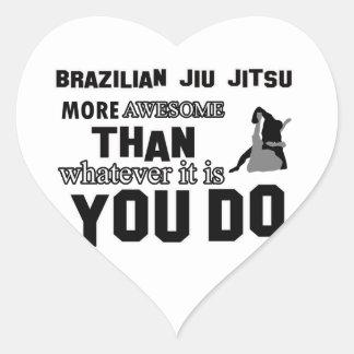 Diseño brasileño impresionante del jitsu del jiu colcomanias corazon