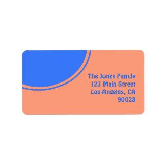 Diseño brillante anaranjado de la MOD del azul Etiqueta De Dirección
