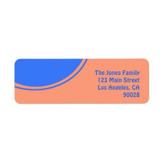 Diseño brillante anaranjado de la MOD del azul Etiqueta De Remite