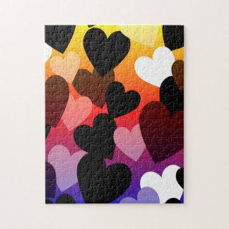 Diseño brillante del amor de los corazones rompecabeza