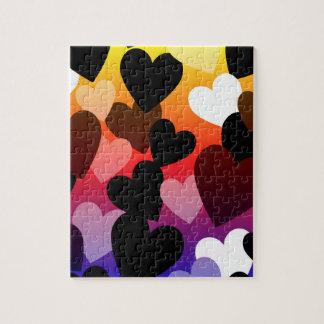 Diseño brillante del amor de los corazones puzzle