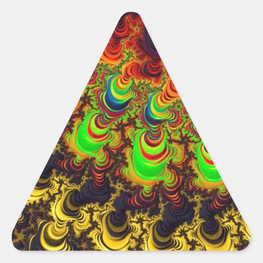 Diseño brillante del fractal pegatina triangular