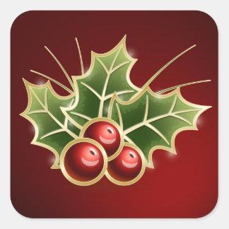 Diseño brillante del navidad de la baya del acebo pegatina cuadrada
