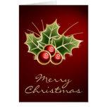 Diseño brillante del navidad de la baya del acebo tarjetas