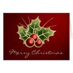 Diseño brillante del navidad de la baya del acebo felicitación