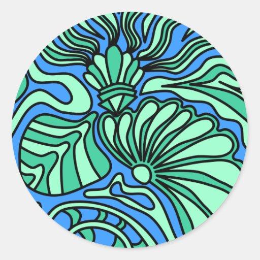 Diseño brillante del tema del océano pegatina redonda