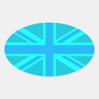 Diseño británico de la bandera de Union Jack de la Pegatina Ovalada
