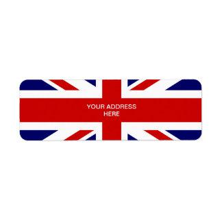 Diseño británico del Union Jack de las etiquetas d Etiqueta De Remite