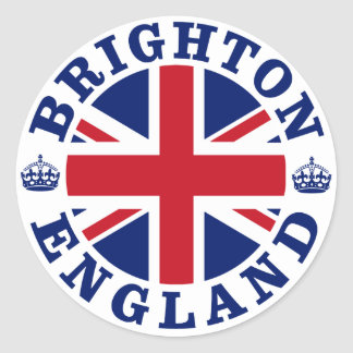 Diseño BRITÁNICO del vintage de Brighton Pegatina Redonda