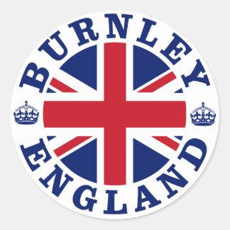 Diseño BRITÁNICO del vintage de Burnley Pegatina Redonda