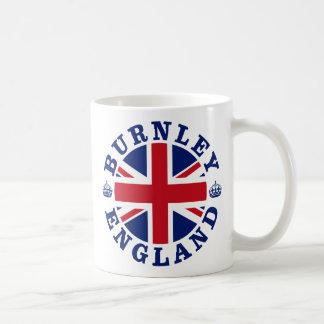Diseño BRITÁNICO del vintage de Burnley Taza Básica Blanca