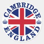 Diseño BRITÁNICO del vintage de Cambridge Pegatinas Redondas