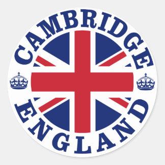 Diseño BRITÁNICO del vintage de Cambridge Pegatina Redonda
