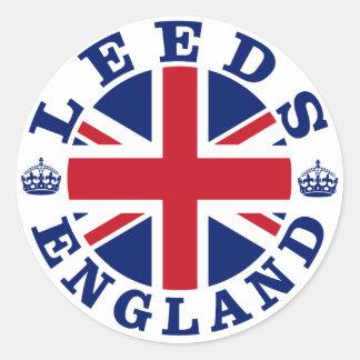 Diseño BRITÁNICO del vintage de Leeds Pegatina Redonda