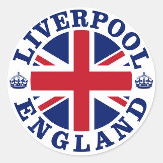 Diseño BRITÁNICO del vintage de Liverpool Pegatina Redonda