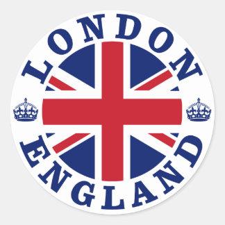 Diseño BRITÁNICO del vintage de Londres Etiqueta Redonda