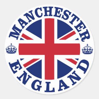 Diseño BRITÁNICO del vintage de Manchester Pegatina Redonda