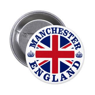 Diseño BRITÁNICO del vintage de Manchester Pin Redondo De 2 Pulgadas