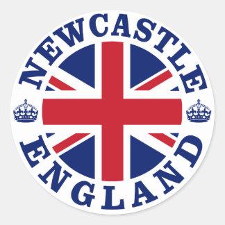 Diseño BRITÁNICO del vintage de Newcastle Pegatina Redonda