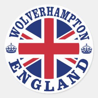 Diseño BRITÁNICO del vintage de Wolverhampton Pegatina Redonda