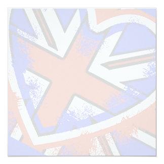 """Diseño británico fresco del corazón de la bandera invitación 5.25"""" x 5.25"""""""