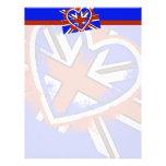 Diseño británico fresco del corazón de la bandera membrete