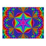 Diseño caleidoscópico coloreado brillante de la postal