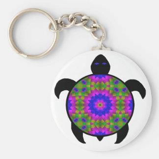 Diseño caleidoscópico de la tortuga de la mandala llavero