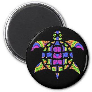 Diseño caleidoscópico de la tortuga - Magnet.2 Imán Redondo 5 Cm