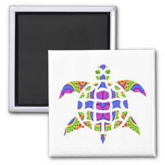 Diseño caleidoscópico Magnet.1 de la tortuga Imán Cuadrado