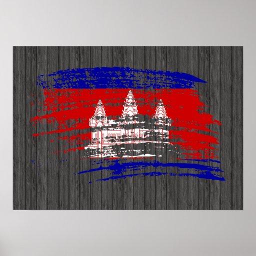 Diseño camboyano fresco de la bandera póster