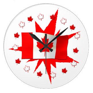 Diseño canadiense de la bandera reloj redondo grande