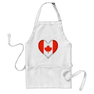 diseño canadiense del corazón de la bandera delantales