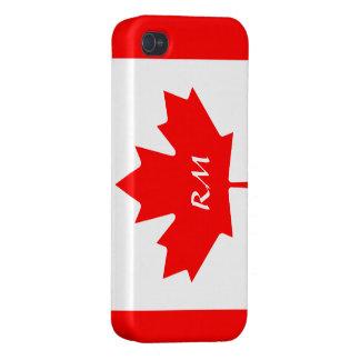 Diseño canadiense patriótico de la bandera en el c iPhone 4 cobertura