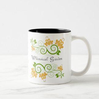 Diseño caprichoso de la taza del jardín
