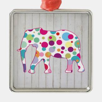 Diseño caprichoso del elefante de los lunares adorno cuadrado plateado