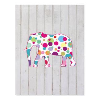 Diseño caprichoso del elefante de los lunares tarjeta postal