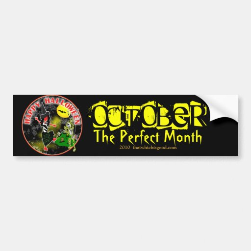 Diseño caprichoso del feliz Halloween Etiqueta De Parachoque