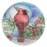 Diseño cardinal del navidad plato para fiesta