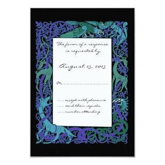 Diseño céltico azul de los animales del claro de invitación 8,9 x 12,7 cm