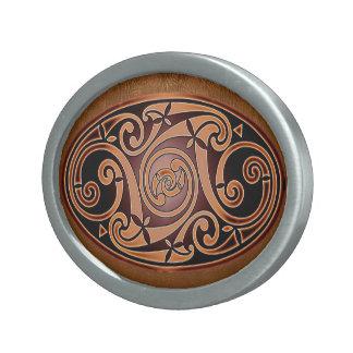 Diseño céltico del espiral del arte hebillas de cinturon ovales