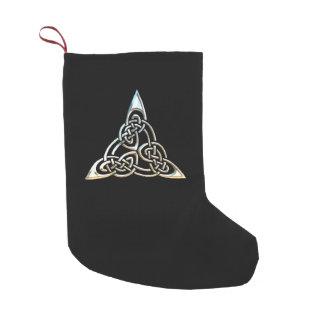 Diseño céltico del nudo de los espirales negros de calcetín de navidad pequeño